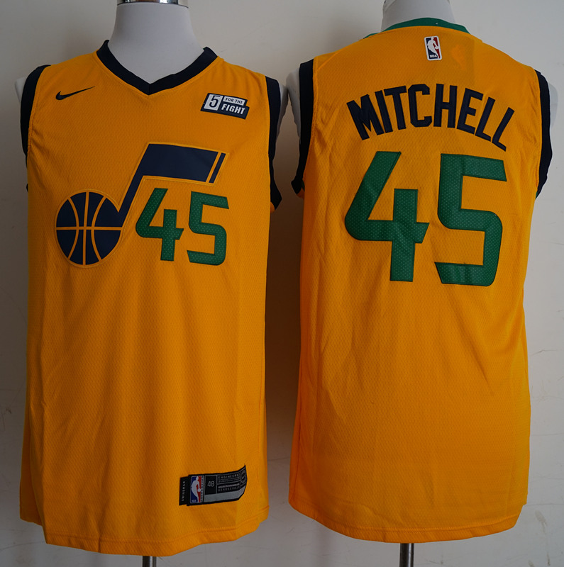 2018 Men NBA Utah Jazz 45 Mitchell yellow city edition Jerseys