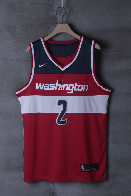 2018 Men NBA Washington Wizards 2 John Wall Red game Jerseys