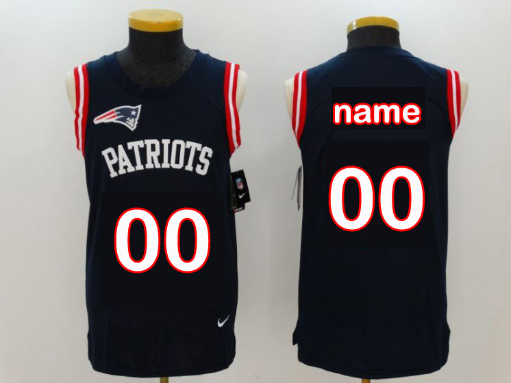 Custom Men New England Patriots Blue Rush Player Name Number Tank Top stitched NFL Jerseys