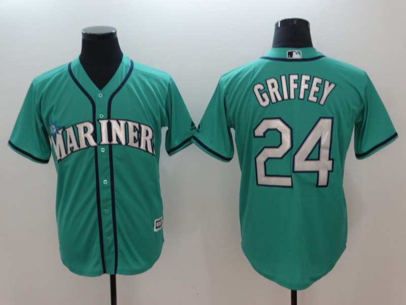 Men 2018 MLB Seattle Mariners 24 Griffey Green Jerseys