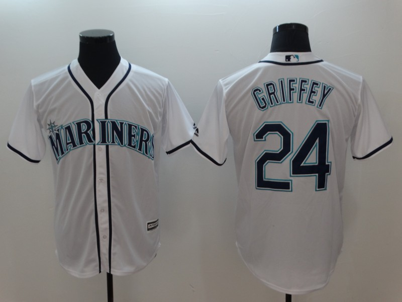 Men 2018 MLB Seattle Mariners 24 Griffey White Jerseys