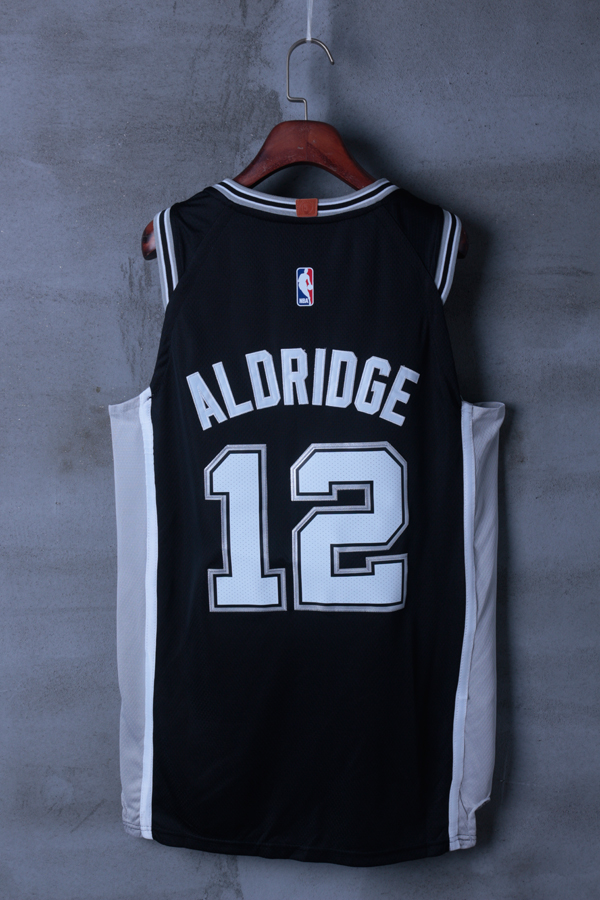 Men 2018 NBA San Antonio Spurs 12 LaMarcus Aldridge Black jerseys