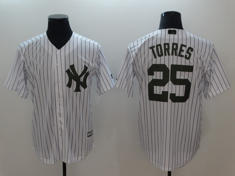 Men 2018 New York Yankees 25 Torres white jerseys