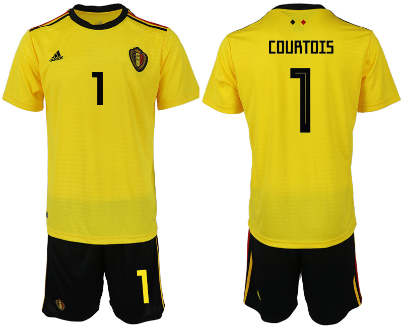 Men 2018 World Cup Belgium away 1 yellow soccer jerseys