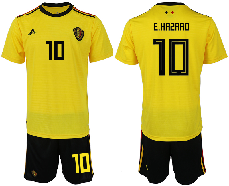 Men 2018 World Cup Belgium away 10 yellow soccer jerseys