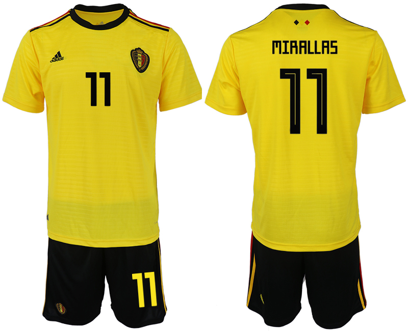 Men 2018 World Cup Belgium away 11 yellow soccer jerseys