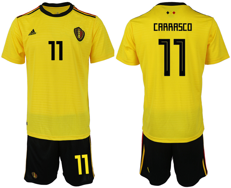 Men 2018 World Cup Belgium away 11 yellow soccer jerseys1