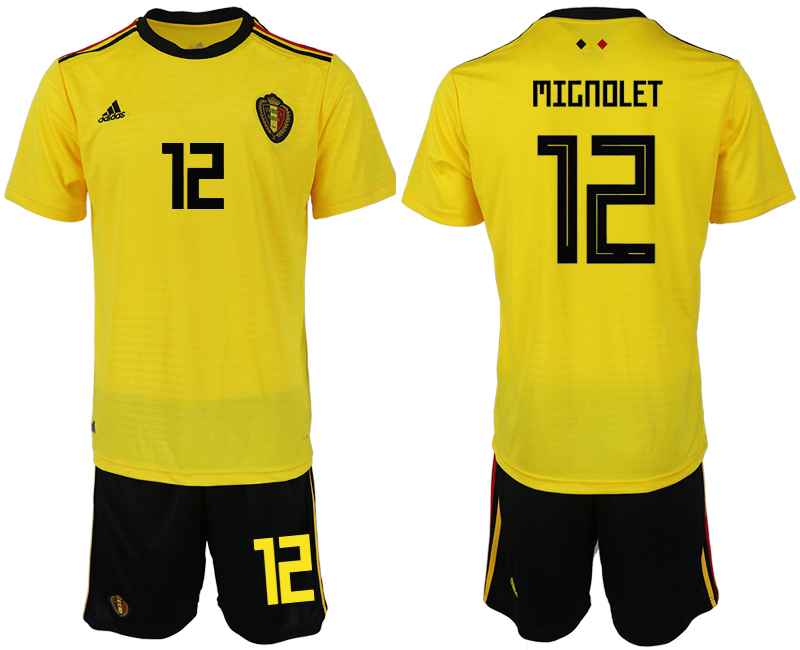 Men 2018 World Cup Belgium away 12 yellow soccer jerseys