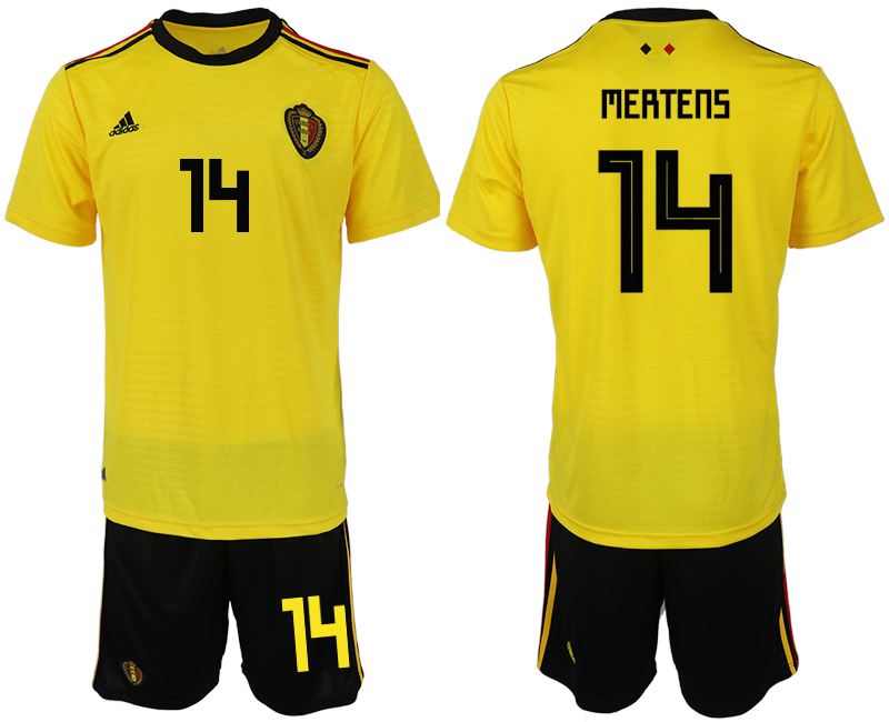 Men 2018 World Cup Belgium away 14 yellow soccer jerseys