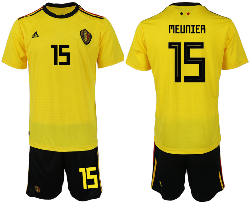 Men 2018 World Cup Belgium away 15 yellow soccer jerseys