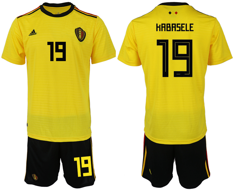 Men 2018 World Cup Belgium away 19 yellow soccer jerseys