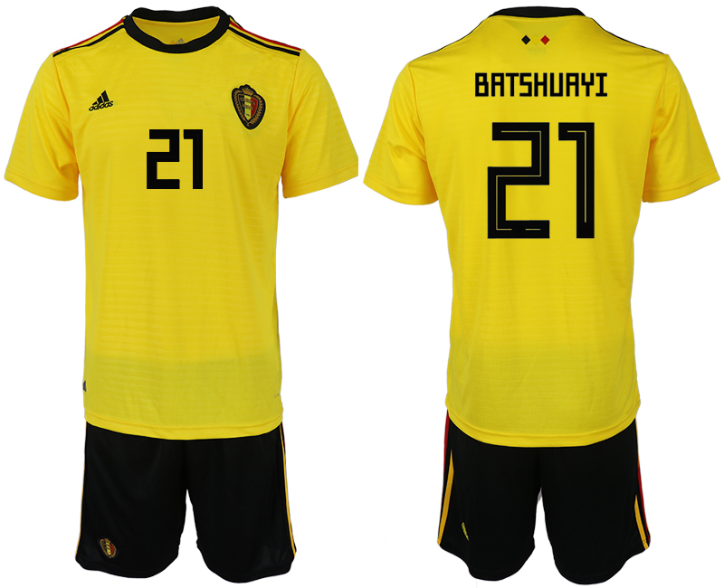 Men 2018 World Cup Belgium away 21 yellow soccer jerseys