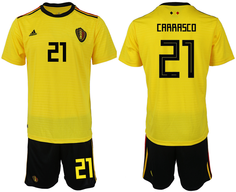 Men 2018 World Cup Belgium away 21 yellow soccer jerseys1