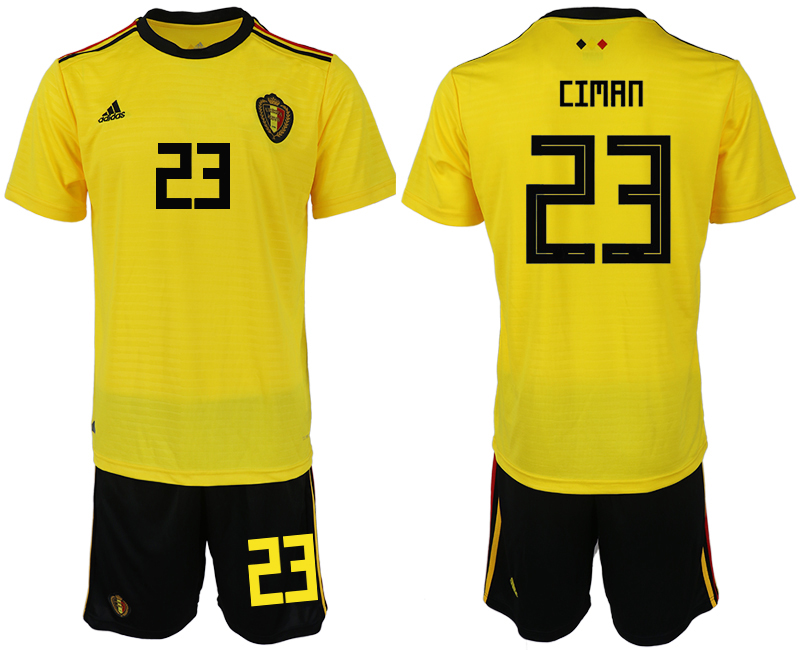 Men 2018 World Cup Belgium away 23 yellow soccer jerseys