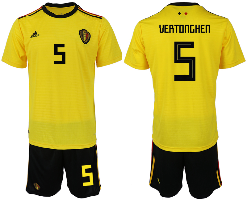 Men 2018 World Cup Belgium away 4 yellow soccer jerseys