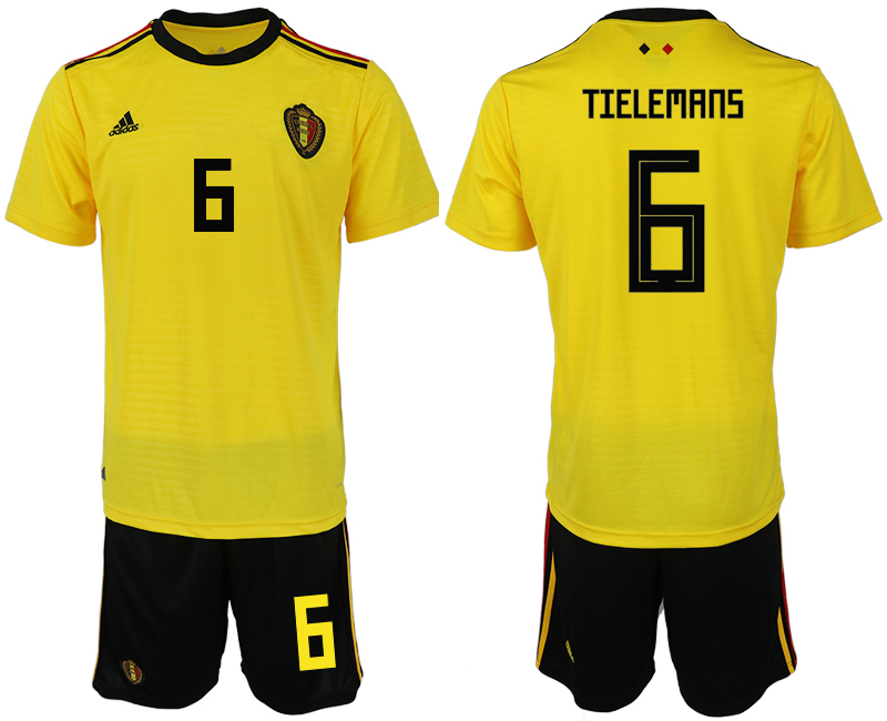 Men 2018 World Cup Belgium away 6 yellow soccer jerseys