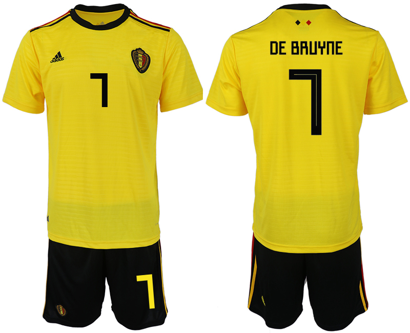 Men 2018 World Cup Belgium away 7 yellow soccer jerseys