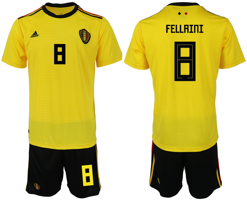 Men 2018 World Cup Belgium away 8 yellow soccer jerseys