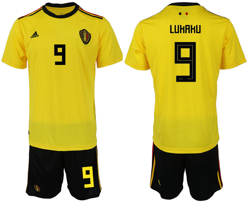 Men 2018 World Cup Belgium away 9 yellow soccer jerseys