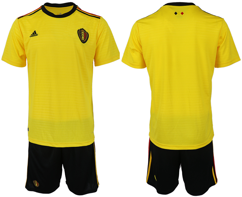 Men 2018 World Cup Belgium away blank yellow soccer jerseys