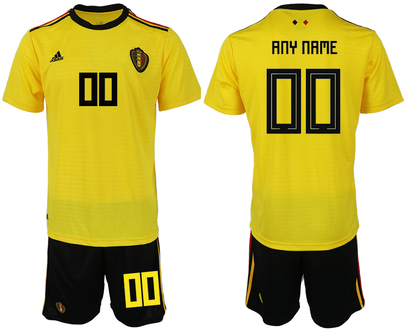 Men 2018 World Cup Belgium away customized yellow soccer jerseys