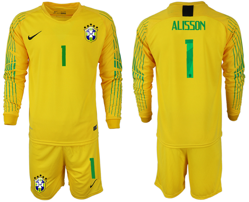 Men 2018 World Cup Brazil yellow goalkeeper long sleeve 1 soccer jerseys