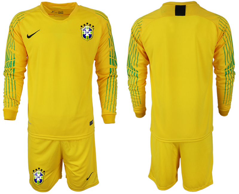 Men 2018 World Cup Brazil yellow goalkeeper long sleeve soccer jerseys