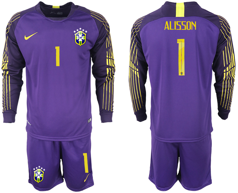 Men 2018 World Cup Brazil violet goalkeeper long sleeve 1 soccer jerseys