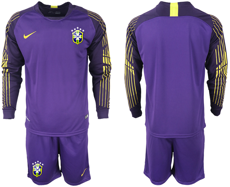 Men 2018 World Cup Brazil violet goalkeeper long sleeve soccer jerseys