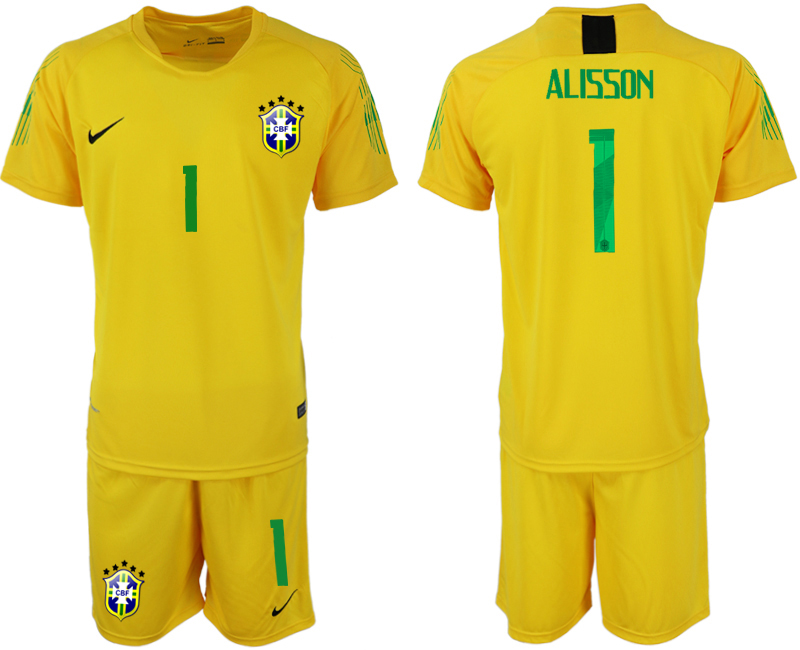 Men 2018 World Cup Brazil yellow goalkeeper 1 soccer jerseys
