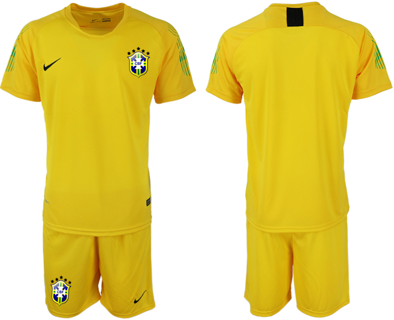 Men 2018 World Cup Brazil yellow goalkeeper soccer jerseys