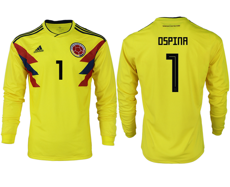 Men 2018 World Cup Colombia home long sleeve aaa version 1 yellow soccer jersey
