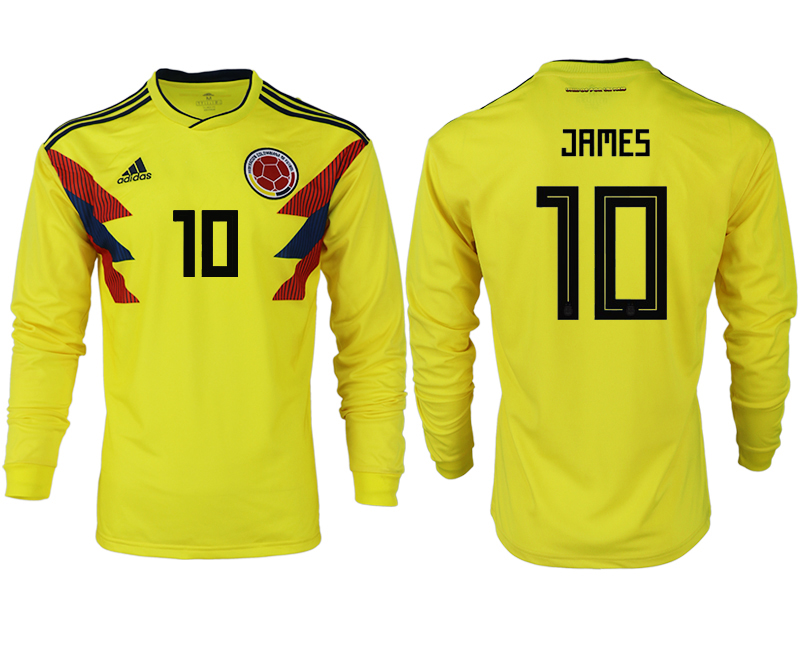 Men 2018 World Cup Colombia home long sleeve aaa version 10 yellow soccer jersey