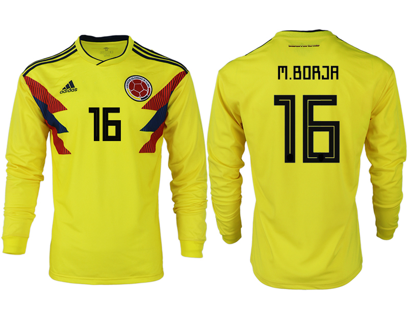 Men 2018 World Cup Colombia home long sleeve aaa version 16 yellow soccer jersey