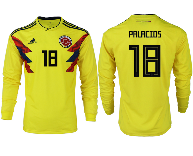 Men 2018 World Cup Colombia home long sleeve aaa version 18 yellow soccer jersey