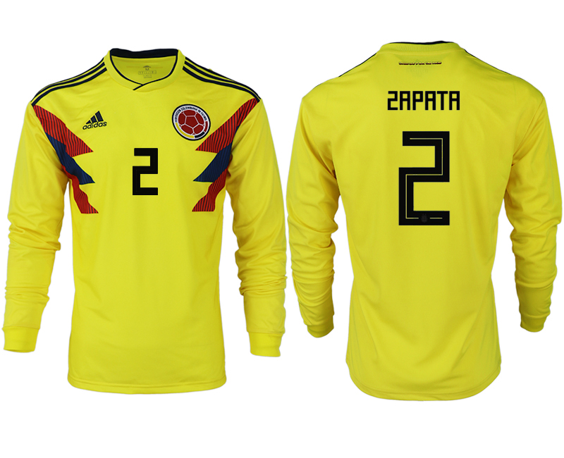 Men 2018 World Cup Colombia home long sleeve aaa version 2 yellow soccer jersey