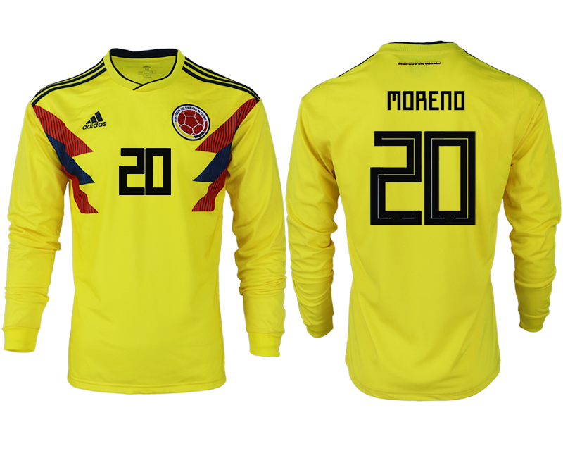 Men 2018 World Cup Colombia home long sleeve aaa version 20 yellow soccer jersey