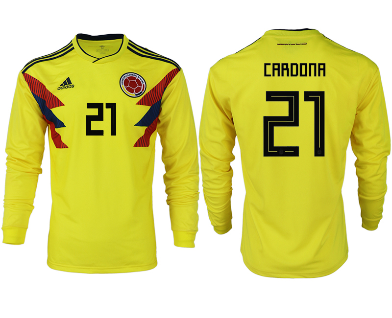 Men 2018 World Cup Colombia home long sleeve aaa version 21 yellow soccer jersey