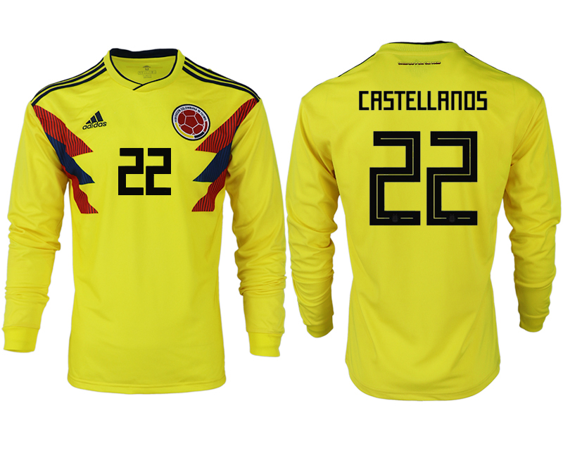 Men 2018 World Cup Colombia home long sleeve aaa version 22 yellow soccer jersey