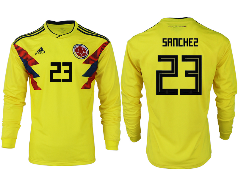 Men 2018 World Cup Colombia home long sleeve aaa version 23 yellow soccer jersey