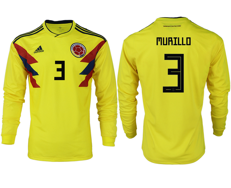 Men 2018 World Cup Colombia home long sleeve aaa version 3 yellow soccer jersey