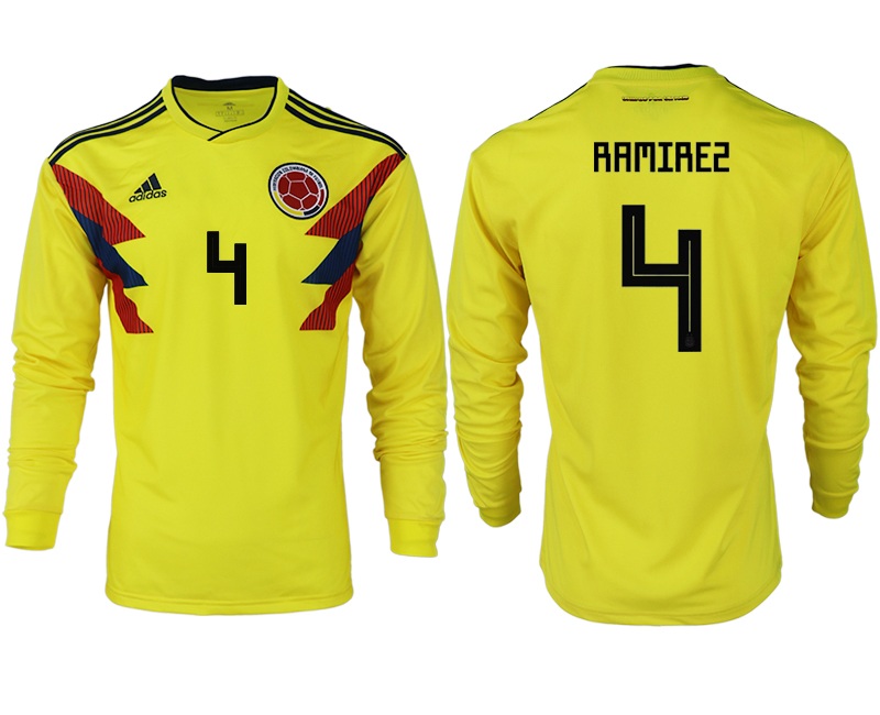 Men 2018 World Cup Colombia home long sleeve aaa version 4 yellow soccer jersey