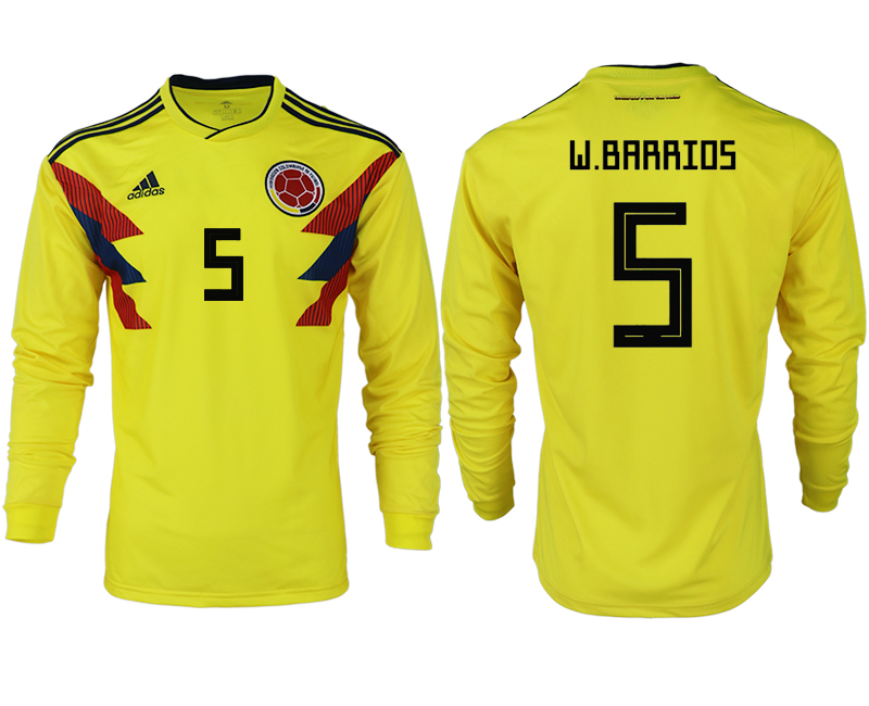 Men 2018 World Cup Colombia home long sleeve aaa version 5 yellow soccer jersey