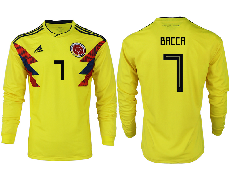 Men 2018 World Cup Colombia home long sleeve aaa version 7 yellow soccer jersey