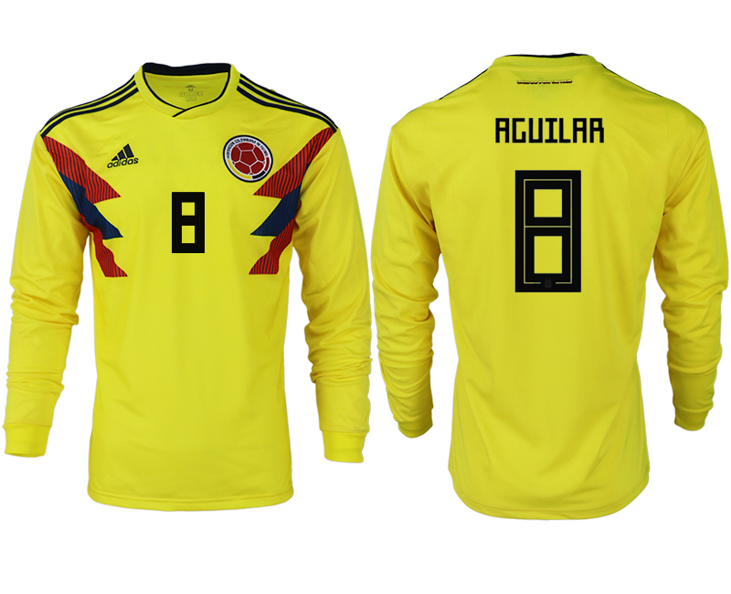Men 2018 World Cup Colombia home long sleeve aaa version 8 yellow soccer jersey