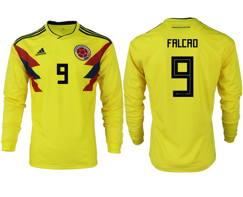 Men 2018 World Cup Colombia home long sleeve aaa version 9 yellow soccer jersey