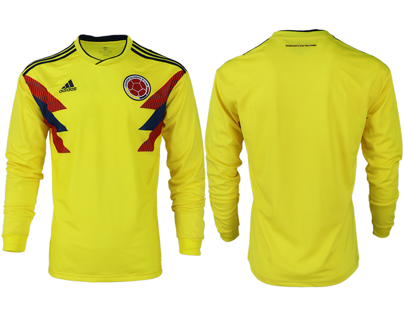 Men 2018 World Cup Colombia home long sleeve aaa version blank yellow soccer jersey