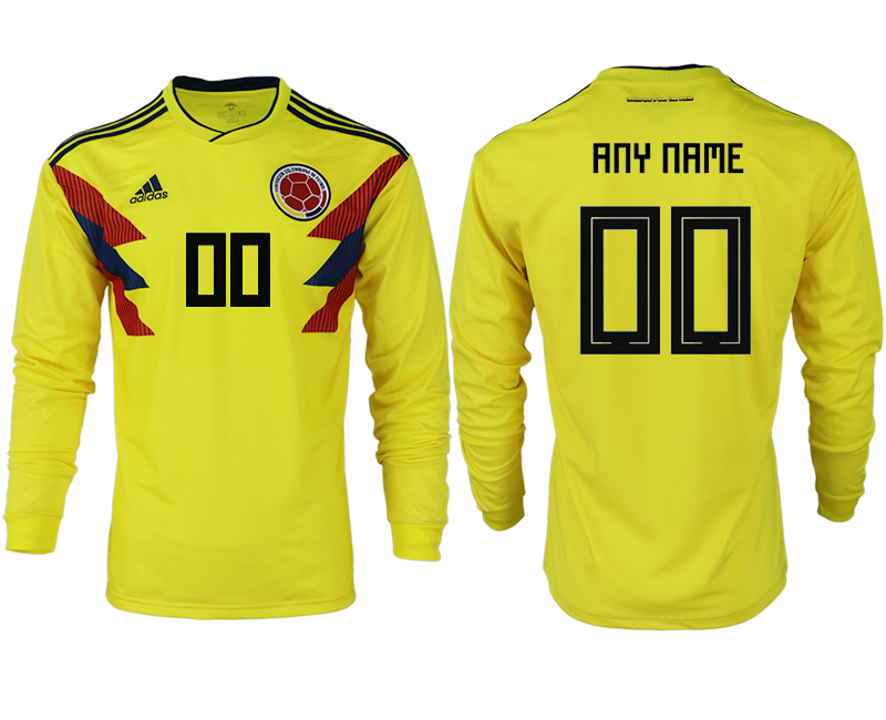 Men 2018 World Cup Colombia home long sleeve aaa version customized yellow soccer jersey