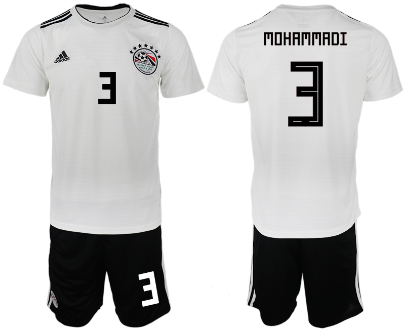 Men 2018 World Cup Egypt away 3 white soccer jerseys
