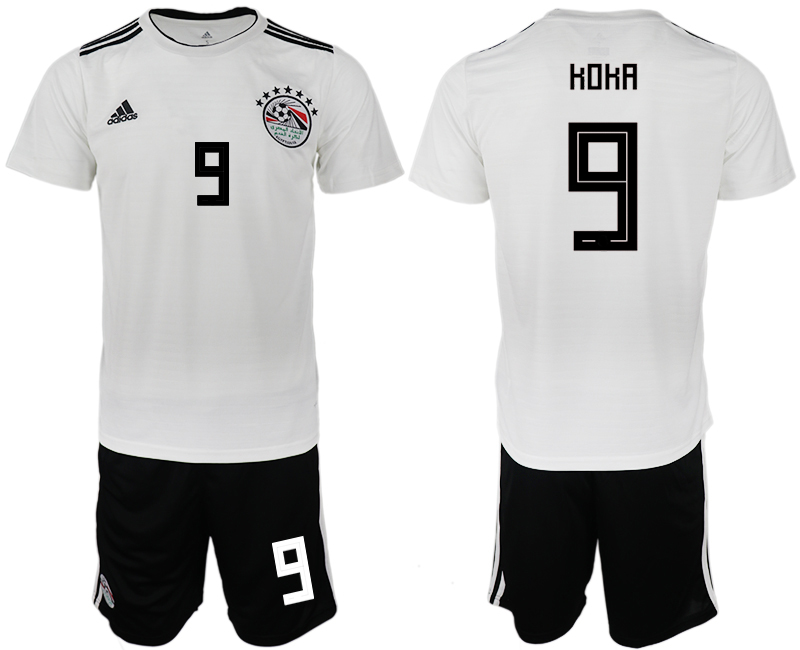 Men 2018 World Cup Egypt away 9 white soccer jerseys